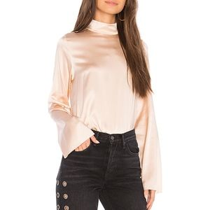 Kendall & Kylie Oversized Mock Neck Silk Blouse